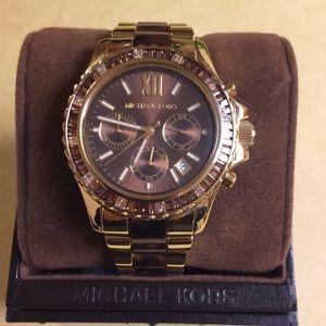 Mk tortoise shell acrylic center link watch